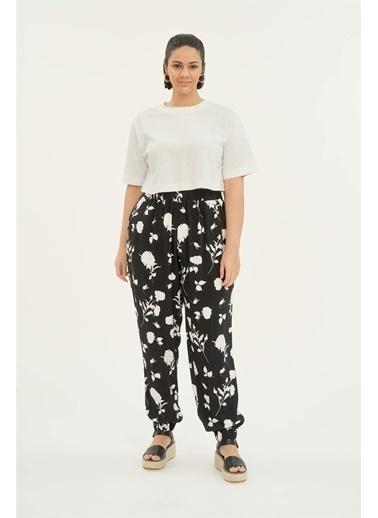 Luokk Lorı Beli Ve Paçası Lastikli Kadın Pantolon Desenli Renkli